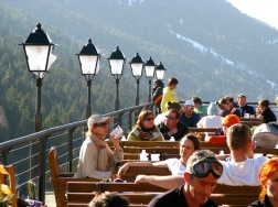 The Sol i Neu deck at the foot of the World Cup Piste in Soldeu, Andorra.