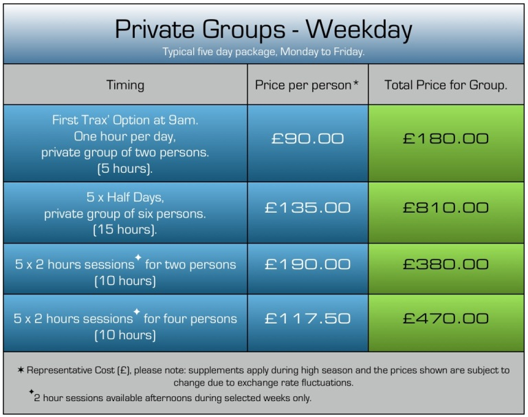 How much does a group ski lesson cost